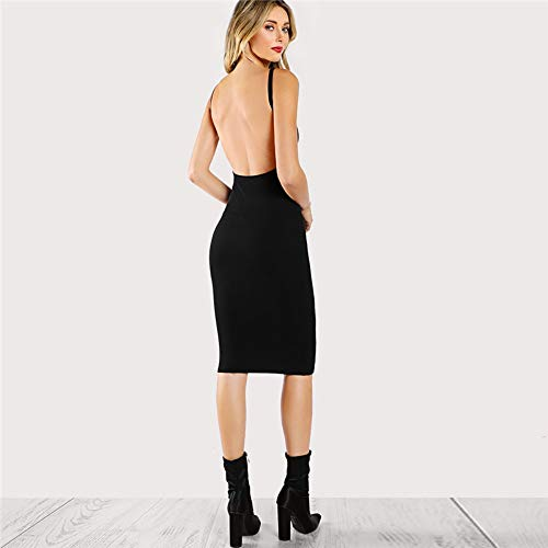 JJHR Kleider Schwarzes Rückenfreies Low Back Bleistift Sommerkleid Solide Abendkleid Bodycon Kurzes Kleid Party Frauen Kleid, S -