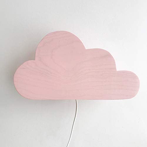 Clevere Kids Kinder Wandlampe Alle Meine Tiere Holz Handarbeit A++ (Wolke rosa)