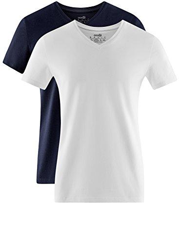 oodji Ultra Herren Tagless T-Shirt Basic (2er-Pack) Mehrfarbig (1901N)