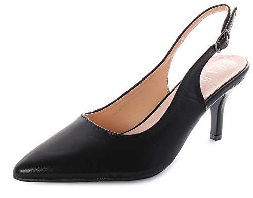 DADA CALZATURE E MODA Chanel, Damen Schuhe mit Riemchen, Schwarz - Schwarz - Größe: 38 EU