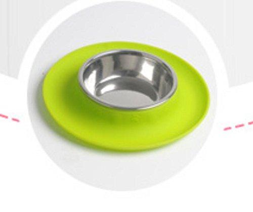 Xinjiener Saugnapf-Silikon-Haustier-Einzelne Anti-streuen Schüssel mit Schüssel-Matte (grünes L)