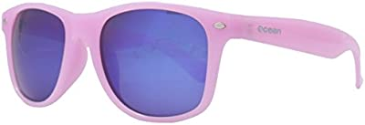 Ocean Sunglasses Beach wayfarer - gafas de sol polarizadas  - Montura : Blanco/Azul Transparente- Lentes : Azul Espejo (18202.24)