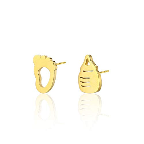 Burenqi Precioso Simpe Elegante Joyería Leche para bebés Pendiente de asimetría de la Botella y Pendientes de Huella Infantil para Great New Mom,Gold