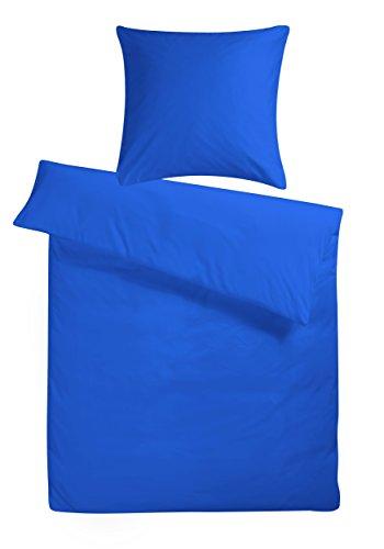 """Mako-Satin Bettwäsche-Set """"Uni"""" 155x220 cm Dunkel-Blau - Bettdecke und Kopfkissen-Bezug aus Satin-Baumwolle mit Reißverschluss - Der schöne & elegante Bett-Bezug mit leichtem Glanz für das ganze Jahr"""