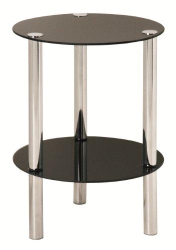 Haku Möbel 90543 Table Basse d'Appoint Tube d'Acier/Verre Trempé Chromé/Noir H 47 cm, Ø 35 cm