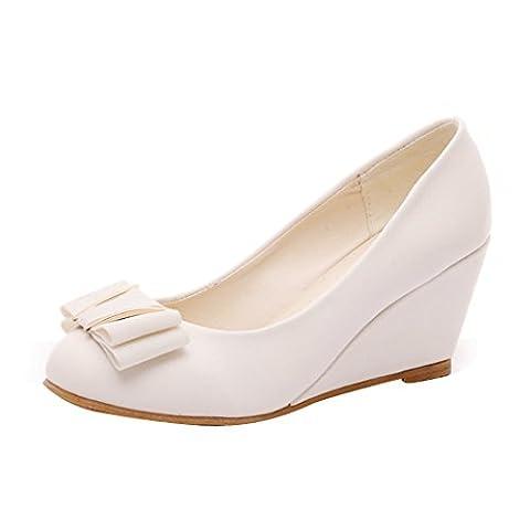 Printemps Été Chaussures talon compensé, Femmes Chaussures élégantes Bow Tie orteil rond (EU:40, Beige)