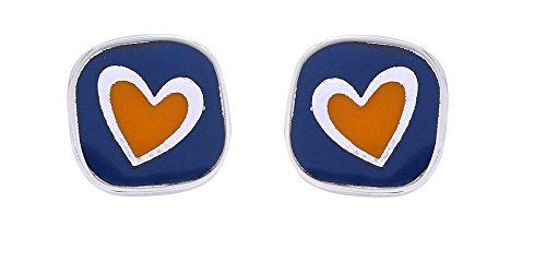 Ohrstecker Herz innen Colorful Emaille Quadratisch Post Ohrringe für Frauen und Mädchen (Weißgold Finish) Topaz Herzen Versprechen Ring