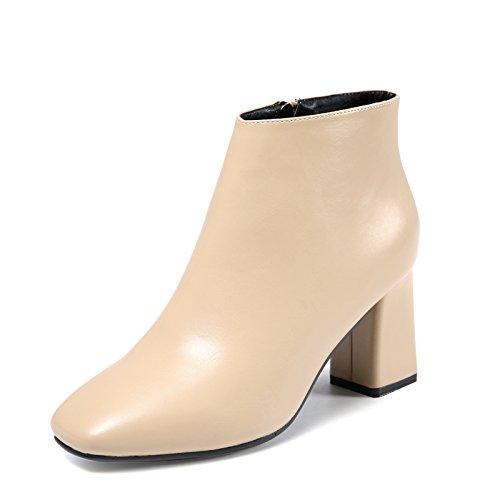 KPHY-la testa della versione coreana di spessore con High-Heeled stivali inverno nuova cerniera laterale elegante e versatile Star Calzature Donna Calzature Donna Marea Beige