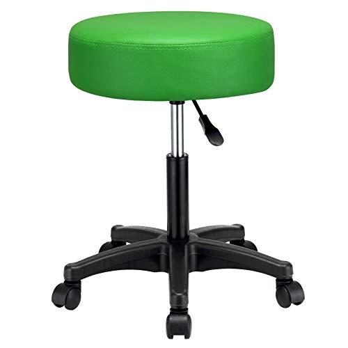 Taburete con giro de 360° | asiento acolchado de cuero sintético (PU) de 10 cm | altura ajustable | Medidas: 52 x 52 x 42-56 cm | (Verde)