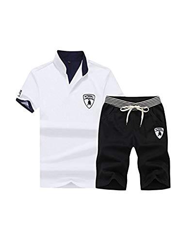DianShao Hommes Casual Survêtement Shorts T-Shirts Manches Courtes Jogging Gym S