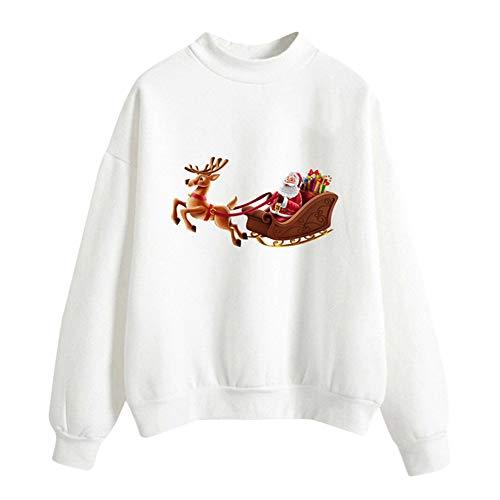 Hucode Frauen Casual Santa Claus Print Bluse Tops -