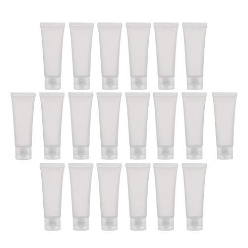 B Blesiya 20pcs 50ml Leer Kosmetik Flaschen Set, Reiseflasche Reisebehälter Tube für Creme Lotion Shampoo Spülung und andere Pflegeprodukten - Bereift -