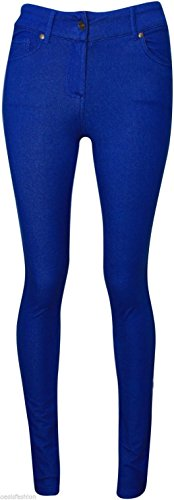 NUOVO Donna Taglie Forti Da Donna Colorati Skinny Stretch Jeans Jeggings Leggings 36-54 Royal Blue
