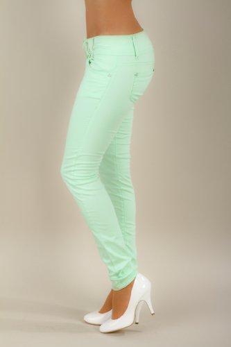 5846 Fashion4Young Damen Röhrenhose Stretch-Denim Hose verfügbar in 5 Größen 3 Farben Mint