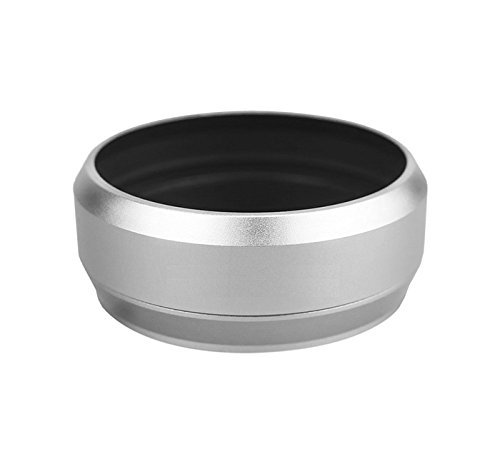 Maxsimafoto - Replacement Lens Hood (silver) for Fujifilm LH-X70, X70. Replacement Front Lens Cap