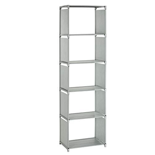 SONGMICS Aufbewahrungsregal, Bücherregal mit 5 Ebenen, Organizer für Kleidung, jede Ablage mit bis zu 5 kg belastbar, 50 x 30 x 180 cm, für Wohnzimmer, Schlafzimmer, Ankleidezimmer, grau LSN15GY