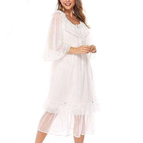 DISCOUNTL Damen-Bademantel aus Netzgarn Langarm Nachtkleid Prinzessin Palace Stil Pyjama Damen Übergröße lose Spitze Home Service Gr. Large, weiß