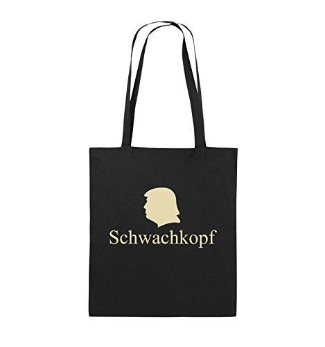 Comedy Bags - Schwachkopf - TRUMP - Jutebeutel - lange Henkel - 38x42cm - Farbe: Schwarz / Pink Schwarz / Beige