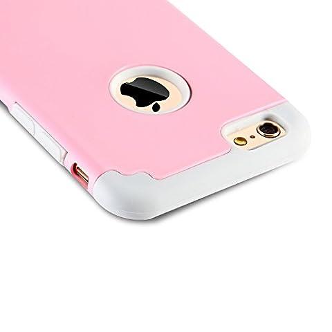 Beauté d'étuis iphone6/6s cases coque 2 en 1 Bumper [Dual Layer] en Polycarbonate et Gel de la Silicone 2 Couleur [Hybrid Defender] étuis housse pour iphone6 6s (rose+gris)