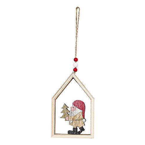 Mitlfuny Festival dekor,Christmas,Halloween,Weihnachtsdekoration,Halloween deko,Halloween kostüm,Haus geformt Weihnachtsbaum hängen Anhänger aus Holz kleine hängende Verzierung (Happy Cloud Kostüm)