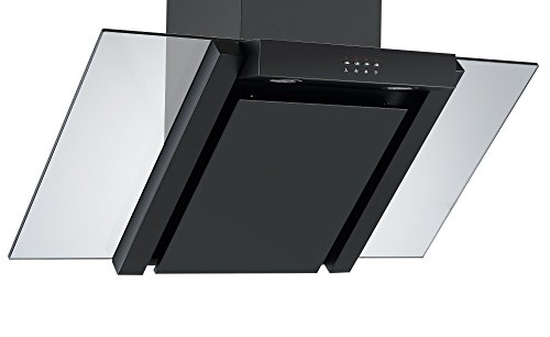 31AncFOKw5L - Angled Glass Extractor Fan   Cookology ANG905BK Unbranded 90cm Angled Glass Chimney Cooker Hood in Black & Smoked Glass