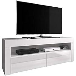 e-Com - Meuble TV Armoire Tele Table Television Luna - 140 cm - Blanc