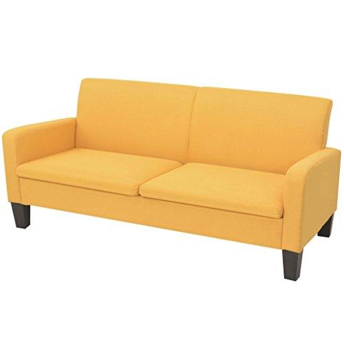 vidaXL 2-Sitzersofa Gelb 2er Sitzer Couchgarnitur Sofagarnitur Stoffsofa Sofa