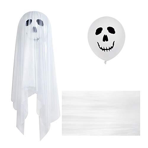 Toyandona Halloween-Luftballons, Dekoration, Geisterballons, Halloween, Dekoration mit weißem Tüll überzogen und doppelseitigem Klebstoff für Halloween-Partys, Weiß 34 White 3pcs
