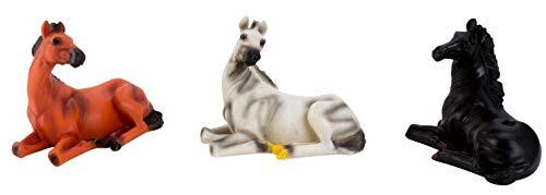 IKO 3 TLG. Escultura de Caballo Tumbado con Rosas