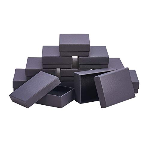 nbeads 60pcs Karton Jewelry Set Boxen, für Halsketten, Ohrringe und Ringe, Rechteck, schwarz, 9x 6,5x 2,8cm