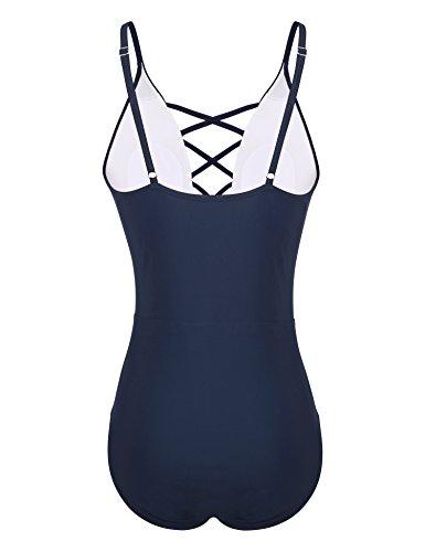 Yolev Badeanzug Monokini Bandage rükenfrei Badebekleidung für Damen Dunkelblau
