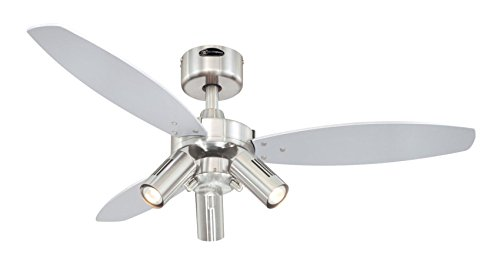 Westinghouse Lighting 72290 Jet Plus 105 cm Three Indoor Ceiling Fan, Spot Lights, Brushed Nickel Finish with Reversible…