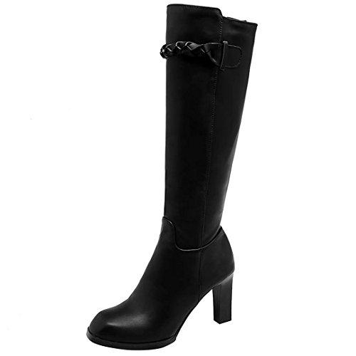 AIYOUMEI Damen Kniehohe Stiefel mit 8cm Absatz Blockabsatz High Heels Herbst Winter Langschaft Stiefel Schuhe