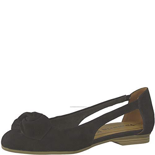 Tamaris 1-1-22106-22 Damen SlingBallerinas,Slingback Ballerina,Flats,Sommerschuh,Gummizug,Touch-IT,Black,38 EU