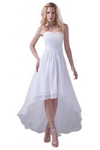 Dearta Damen Kleidungen A-Linie Herz-Ausschnitt Aermellos Asymmetrisch Schnuerung Chiffon...