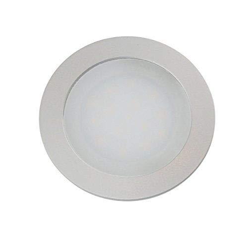 VBLED® dimmbare LED Einbauleuchte extra flach (12 mm Einbautiefe) Aluminium eloxiert matt warm-weiß 0,9W Dimmbar 12V IP67 für Wand, Boden und Decke (rund)
