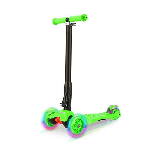 Wellewelle Patinete de 3 Ruedas con Diseño Scooter para Niños de 2 a 12 Años de Edad + Rodillera (Verde)