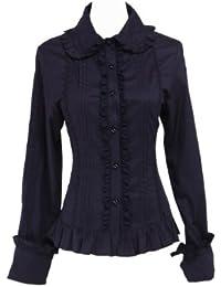 an tai na  Negra Algodón Volantes Encaje Classical Retro Gotica Lolita  Camisa Blusa 6c36f50f3bd