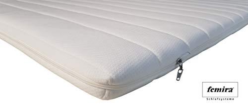 Femira Kaltschaum Topper Matratzenauflage Couture KS | 180 x 200 cm | Premium Raumgewicht RG50 | 6 cm Gesamthöhe | Abnehmbarer und waschbarer Bezug