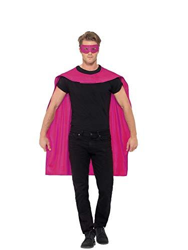 Smiffys Unisex Umhang und Augenmaske, One Size, Pink, (Pink Für Erwachsene Kostüm Damen)