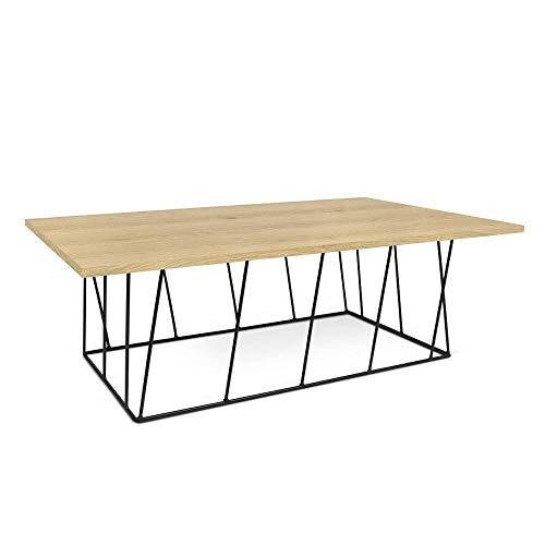TemaHome Table Basse Helix 120 Plateau chêne Structure laquée Noir Mat.
