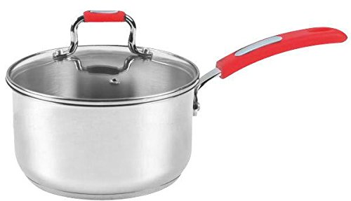 Europware 0130-14SP Stainless Steel 1 quart Sauce Pan with Glass Lid, Small, Silver/Red by (1 Quart Pan)
