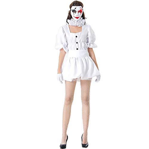 Weiblich Kostüm Clown - WSJMJ Halloween japanische Ghost Doll Cosplay Uniform, Maskerade Party weißen Clown Kostüm, Karneval Cos Kostüm Ball, weibliche Erwachsene Clown Kleidung