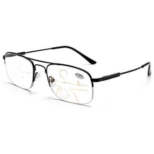 Herren Halb umrandet Photochrom Lesebrille, Multifokale Dioptrien-Gleitsichtbrille Lentes, Leicht Memory Titan Rahmen Leser