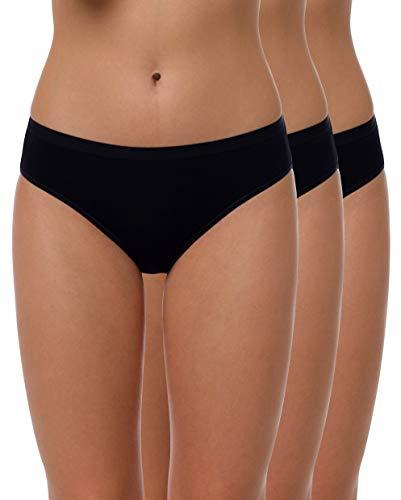 Yenita 3er Set Bambus Damen Unterwäsche, Bikini-Slip, Schwarz, Gr.S Bambus Slip