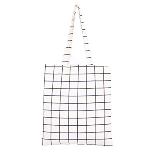 Provide The Best Women Grid Cotton Linen Handbags Students Double Layers Girls Casual Tote Single Shoulder Bag