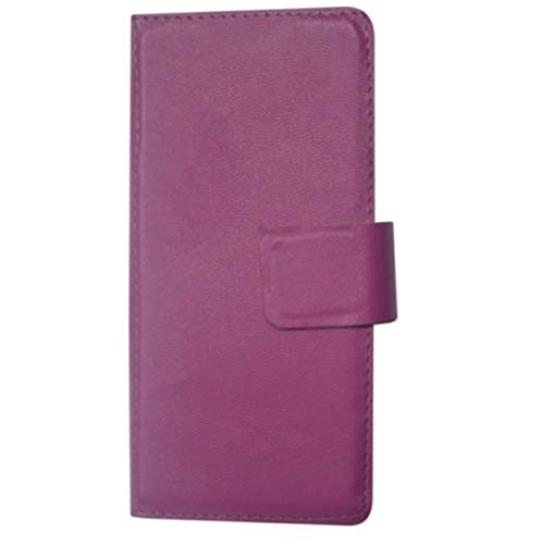 BKDT Marketing Leather Touch Feel Flip Cover for Micromax Canvas Yu Yuphoria 5010 - Purple Color Design with 2 amp Charger and high Speed Data Cable Combo