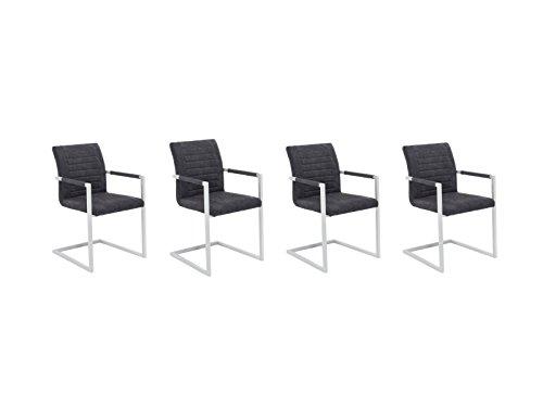 Woodkings 4X Schwingstuhl Picton, Kunstleder grau, Metall weiß, Freischwinger mit Armlehne, Esszimmerstuhl, modern, Designstuhl, Metallstuhl, Küchenstuhl, 4er Set, günstig