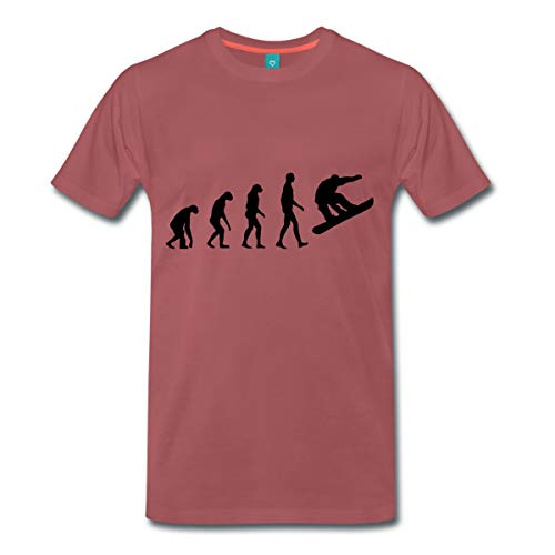 Spreadshirt Snowboarding Wintersport Evolution Snowboard Männer Premium T-Shirt, 4XL, Washed Burgundy