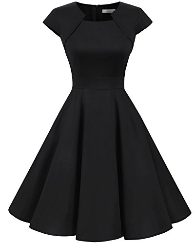 Homrain Damen 50er Vintage Retro Kleid Party Kurzarm Rockabilly Cocktail Abendkleider